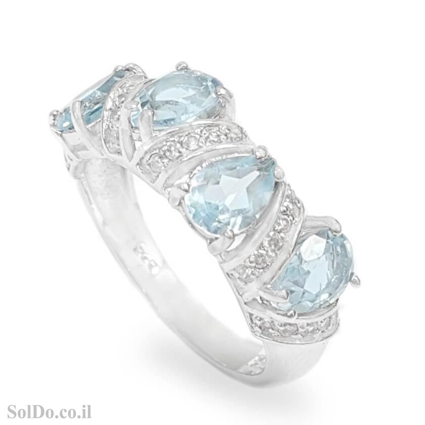 טבעת מכסף משובצת אבני טופז כחולה וזרקונים RG6134 | תכשיטי כסף 925 | טבעות כסף