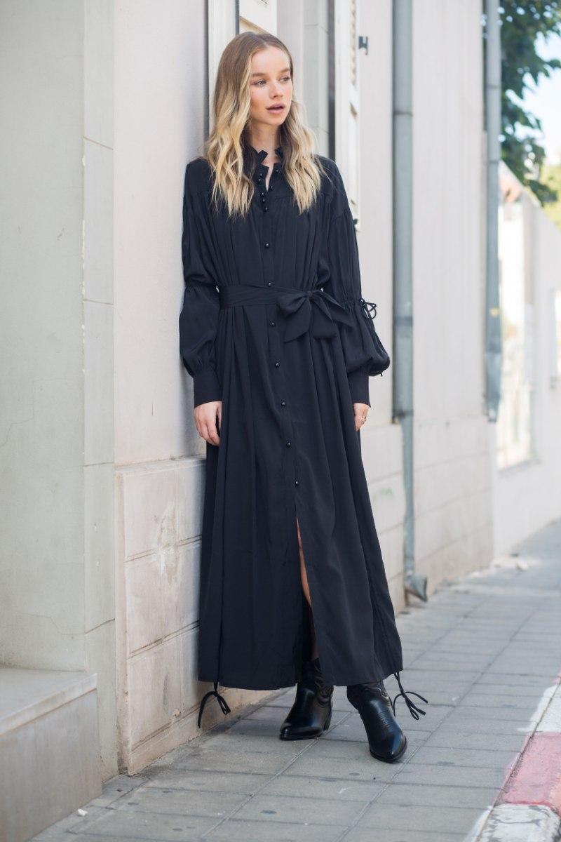 שמלת משי מקסי שילוב כיווץ שחור