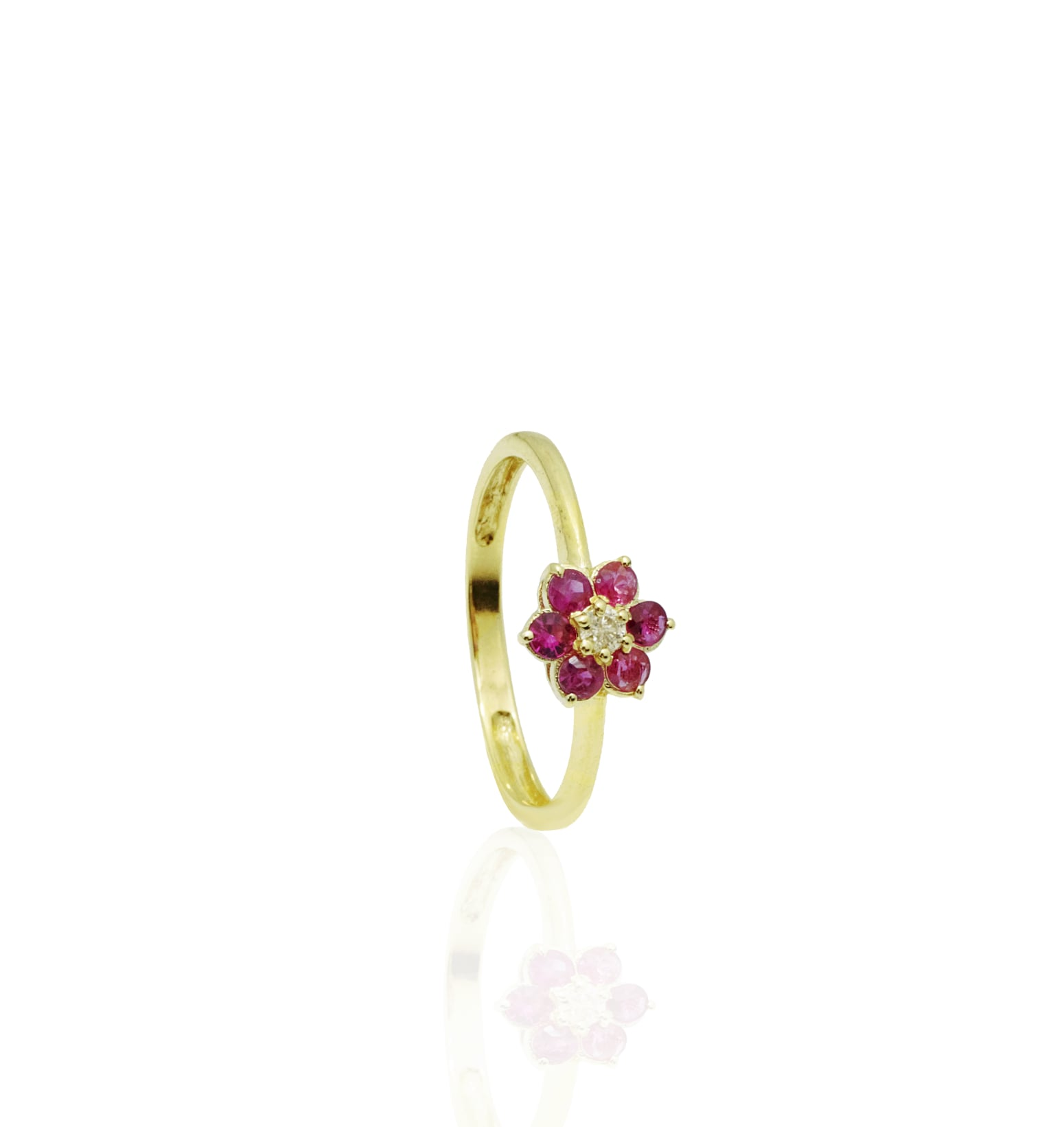 טבעת בסגנון פרח רובי ויהלומים 0.50 קראט עשויה בזהב 14 קאראט