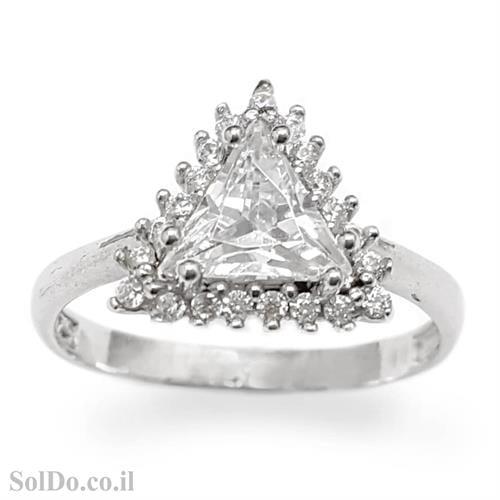 טבעת מכסף משובצת אבן זרקון בצורת משולש ואבני זרקון קטנות RG5999