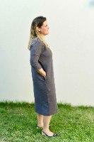 שמלת מדגם זוהר מבד פיקה בצבע פלדה