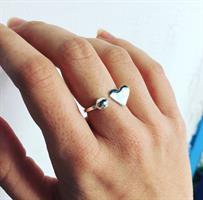 טבעת לב נקודה כסף