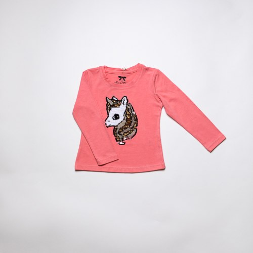 חולצת בנות לייקרה חד קרן פוקסיה