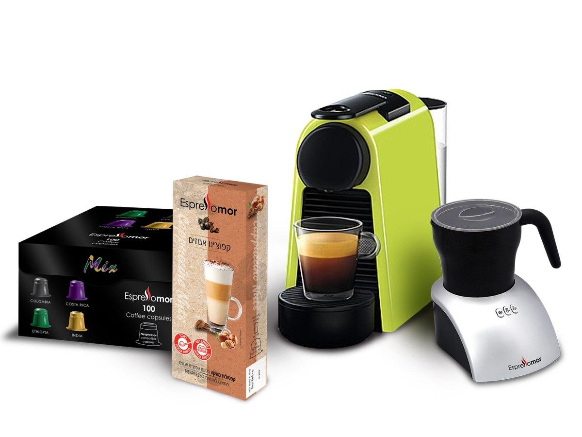 מכונת נספרסו אסנזה + מקציף חלב וואן טאצ' + 100 קפסולות קפה מיקס + 10 קפסולות קפוצ'ינו אגוזים