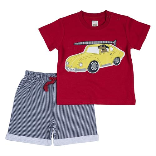 חליפה קצרה הדפס אוטו צהוב אדום