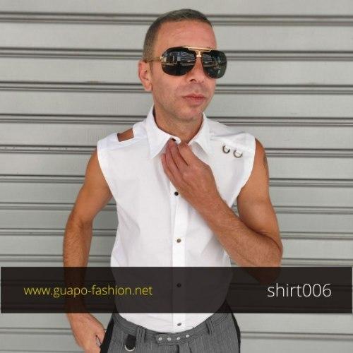 חולצה שנייה לחתן | חולצה לאירוע | חולצה מכופתרת לבנה ללא שרוולים לגבר