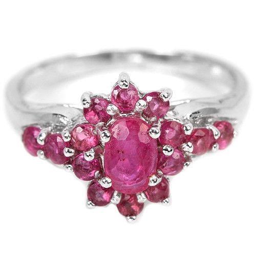 טבעת כסף משובצת אבני רובי אדומות  RG5698 | תכשיטי כסף 925 | טבעות כסף