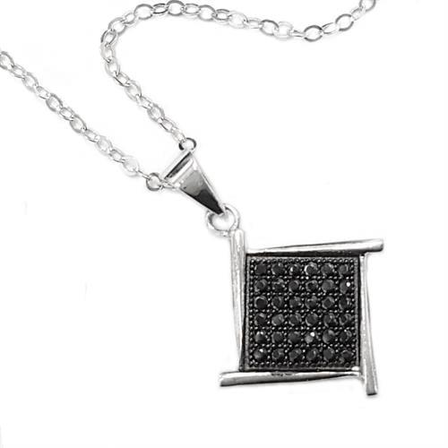 תליון כסף משובץ אבני זרקון שחורות T5850 | תכשיטי כסף 925 | שרשרת כסף