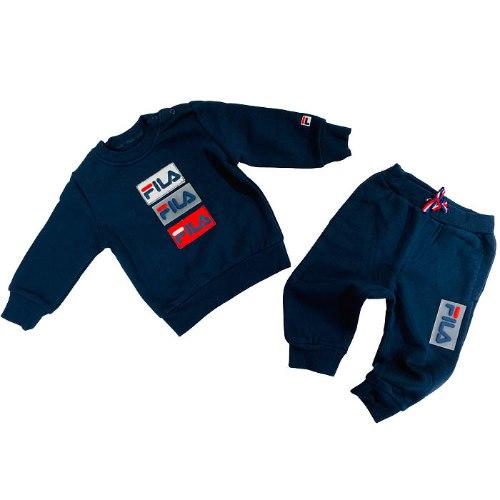 חליפת פוטר בנים כחולה לוגו סיליקון  FILA - מידות NB עד 8 שנים