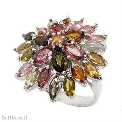 טבעת מכסף משובצת אבני טורמלין RG6068 | תכשיטי כסף 925 | טבעות כסף