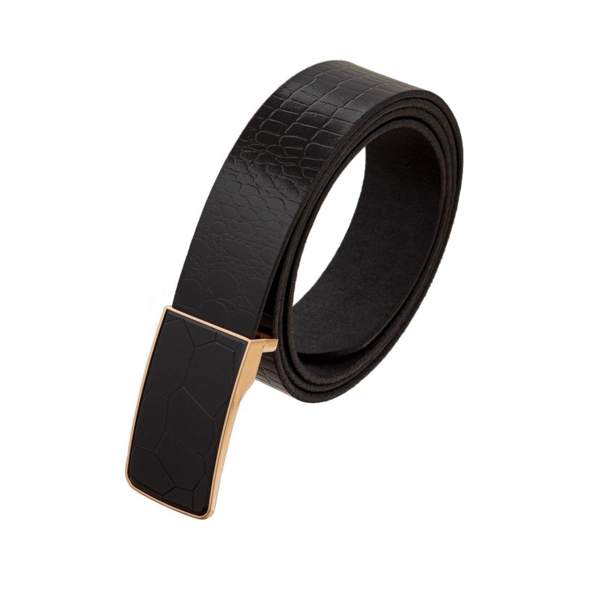 חגורה עור שחור דגם קרוקודיל אבזם שברים