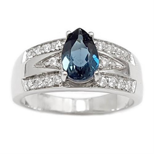 טבעת מכסף משובצת אבן טופז כחולה וזרקונים RG5973 | תכשיטי כסף 925 | טבעות כסף