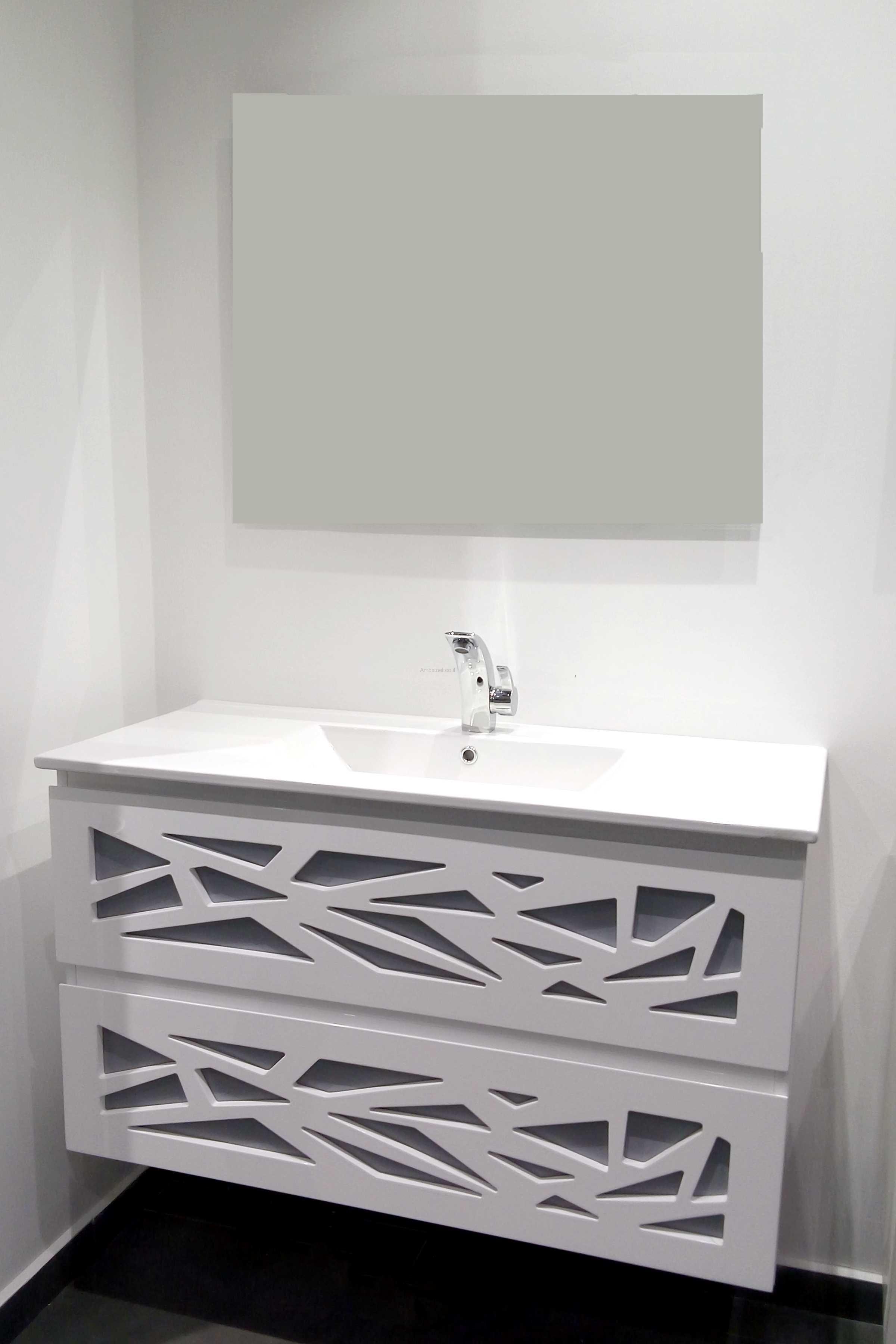 """ארון אמבטיה תלוי משרביה 80 ס""""מ לבן"""