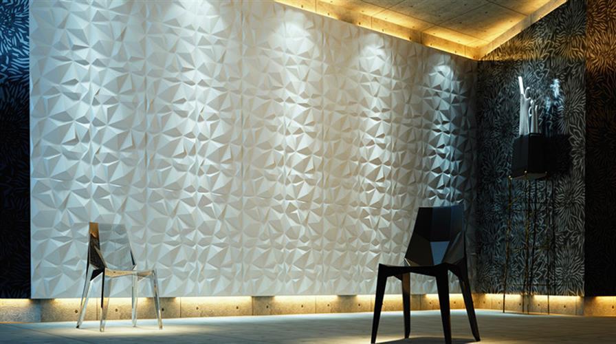 חיפויי קיר תלת מימדי דגם ''diamond'' בגודל 50X50