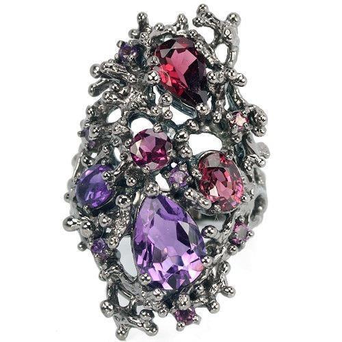 טבעת כסף מעוצבת, משובצת אבני אמטיסט סגול וגרנט RG5596 | תכשיטי כסף 925 | טבעות כסף