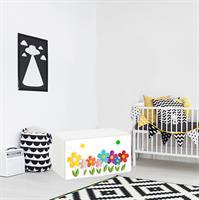 טפט דביק מותאם לספסל אחסון לצעצועים (STUVA)- פרחים