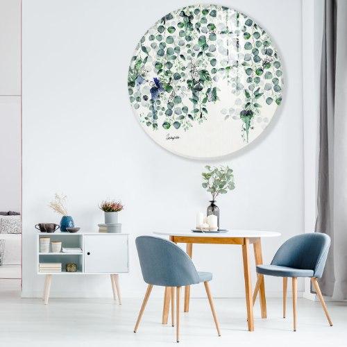 תמונת זכוכית - פרחים כחולים