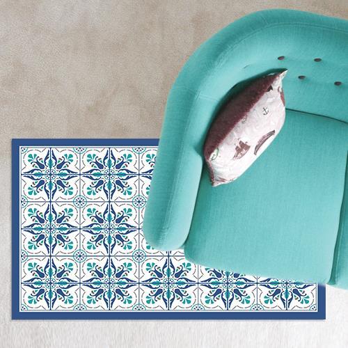 שטיח PVC ויניל לעיצוב הבית - כחול