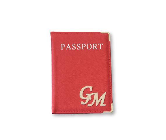 כיסוי לדרכון דמוי עור אדום וכסף