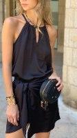 חצאית מעטפת מיני שחורה