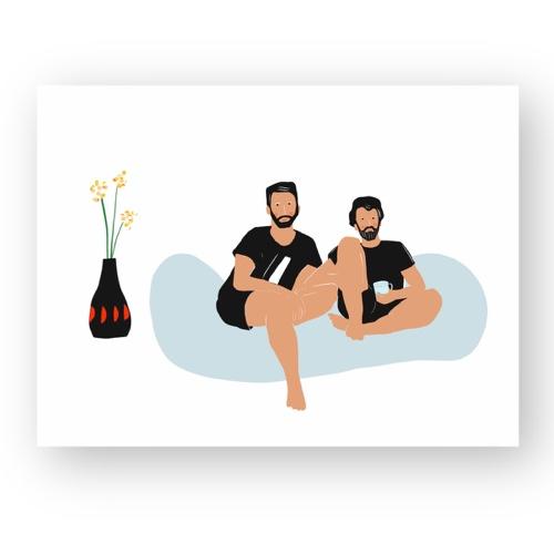 """זוג גברים חולק רגע של שלווה - מתוך """"החיים יפים"""", הסדרה האופטימית"""