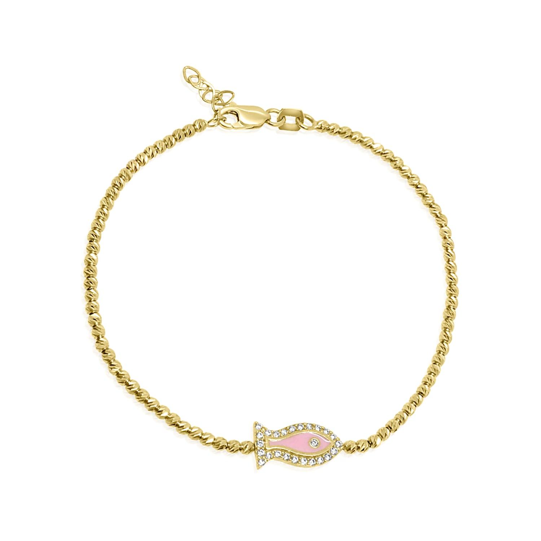 צמיד זהב כדורי עם תליון דג זרקונים ואמייל ורוד