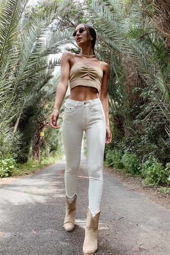 ג'ינס דאלאס לבן גבוה