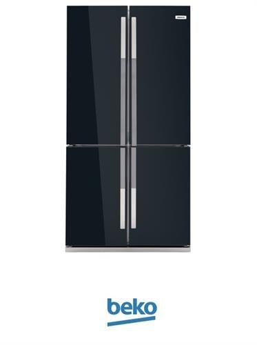 beko מקרר 4 דלתות 552 ליטר דגם GNE-104611-9005 ציפוי זכוכית שחור מתצוגה !
