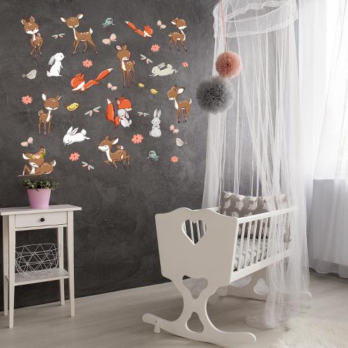 מדבקת קיר לחדר תינוקות או ילדים - חיות היער | מדבקות | מדבקות קיר מעוצבות | מדבקות לחדר ילדים