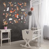 מדבקת קיר לחדר תינוקות או ילדים - חיות היער   מדבקות   מדבקות קיר מעוצבות   מדבקות לחדר ילדים