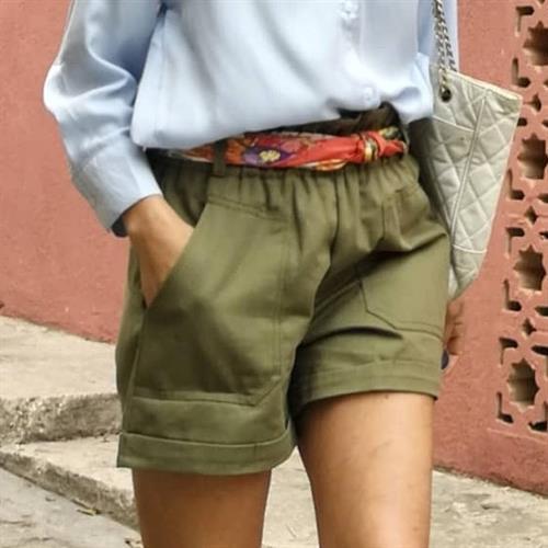 מכנס  ניל פריזאי קצר -  זית