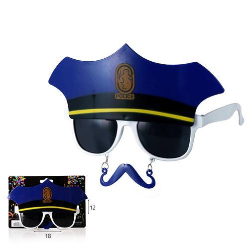 משקפי שוטר כובע ושפם