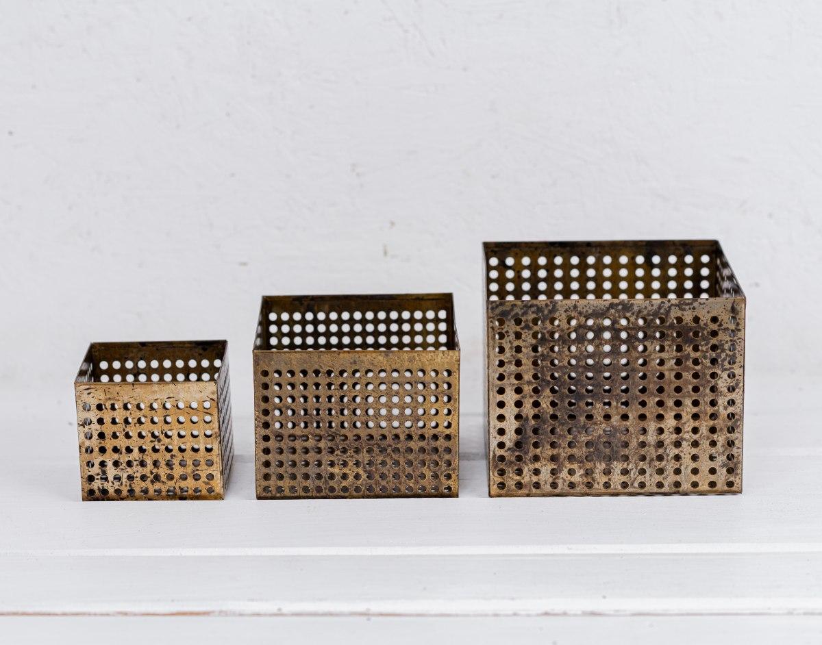 סט של 3 קופסה פתוחה / כלי ממתכת מרובע - זהב