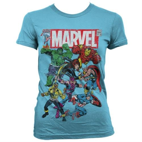 Marvel Team Up גזרת נשים - תכלת