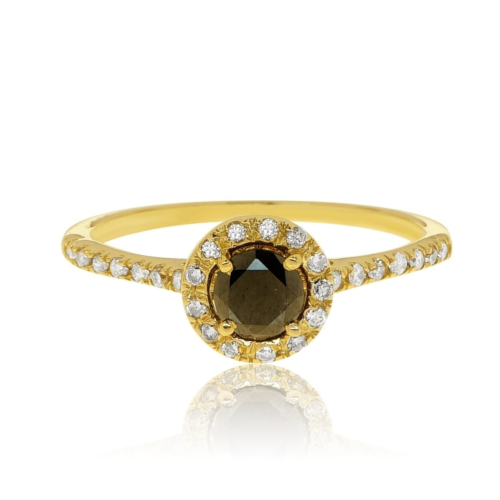 טבעת זהב 14 קרט משובץ יהלום שחור 0.50 קראט ויהלומים לבנים 0.25 קראט