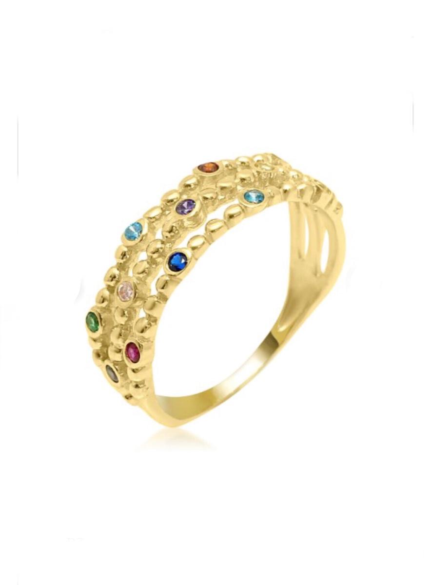 טבעת זהב 14 קראט עם זרקונים|טבעת מיוחדת