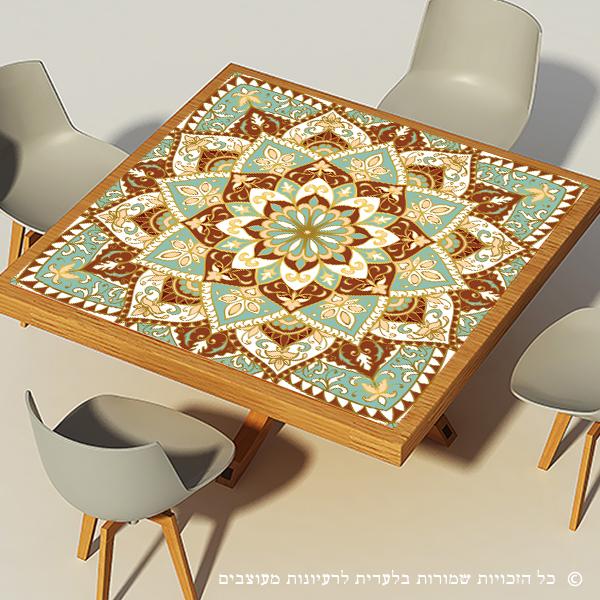 מפת שולחן פיויסי דקורטיבית- מנדלה מנטה קרם מרובעת ל-שולחנות מעוצבים