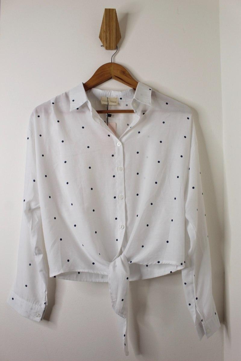 חולצת נקודות קשירה לבנה