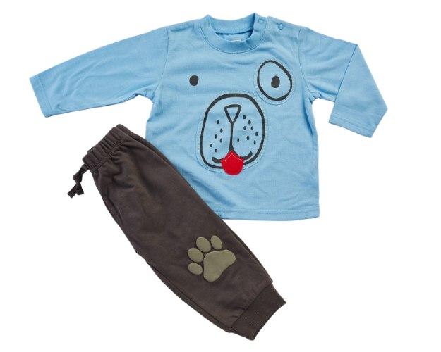 חליפת מעבר דב תכלת-חום מכנס פרנצ׳ טרי