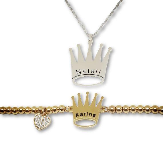 שרשרת כסף 925 לב בתוך לב עם שיבוץ וחריטה אישית-כסף 925/גולדפילד