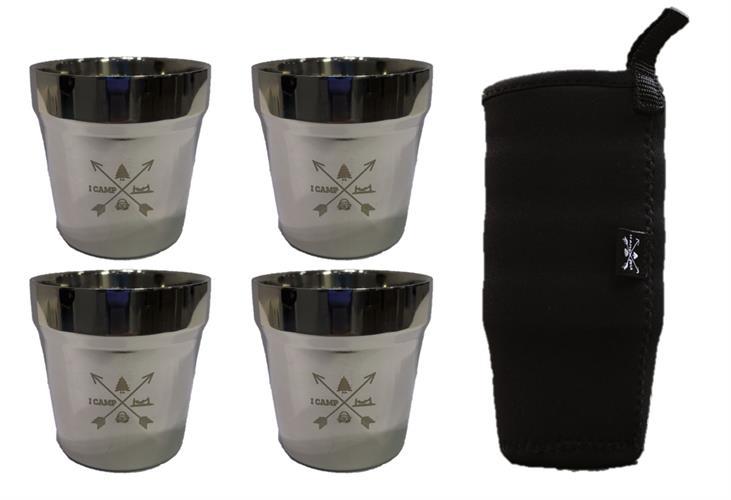 """4 כוסות נירוסטה דופן כפולה 180 מ""""ל + שרוול"""