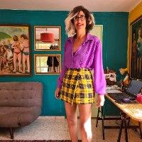 חצאית מיני משבצות צמרירית רכה מידה S/M