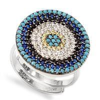 טבעת כסף עגולה משובצת אבני זרקון כחולות ולבנות RG8366 | תכשיטי כסף 925 | טבעות כסף