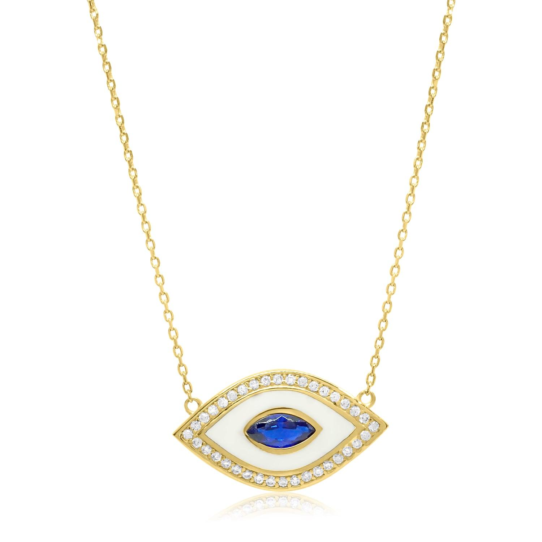 שרשרת עין זהב וזרקונים עם אמייל לבן וזרקון כחולה