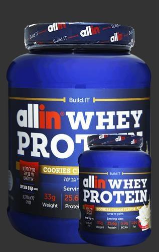 אבקת חלבון אול אין – Allin Whey Protein כשרה-2.27KG+חלבון 750 גרם allin