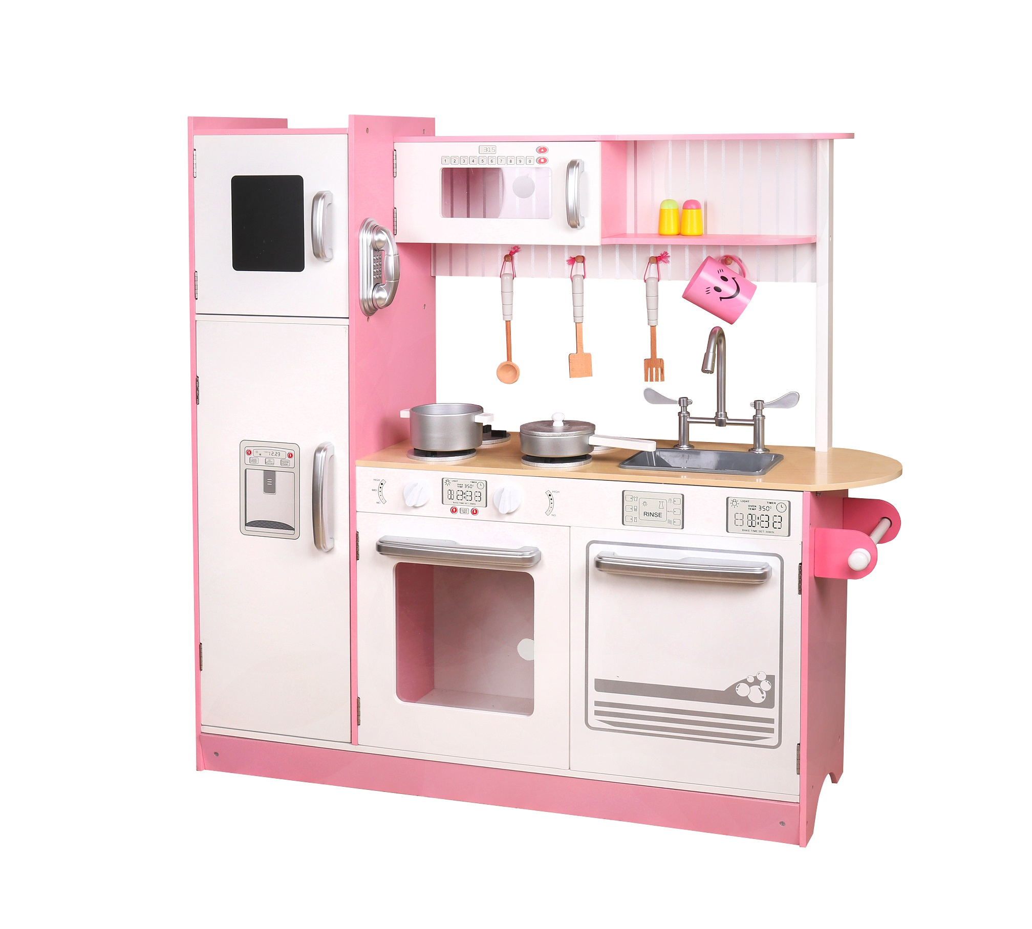 מטבח עץ לילדים ורוד דגם אורטל W10C382B