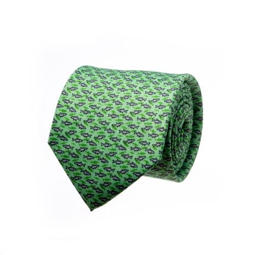 עניבה דגם דגים ירוק