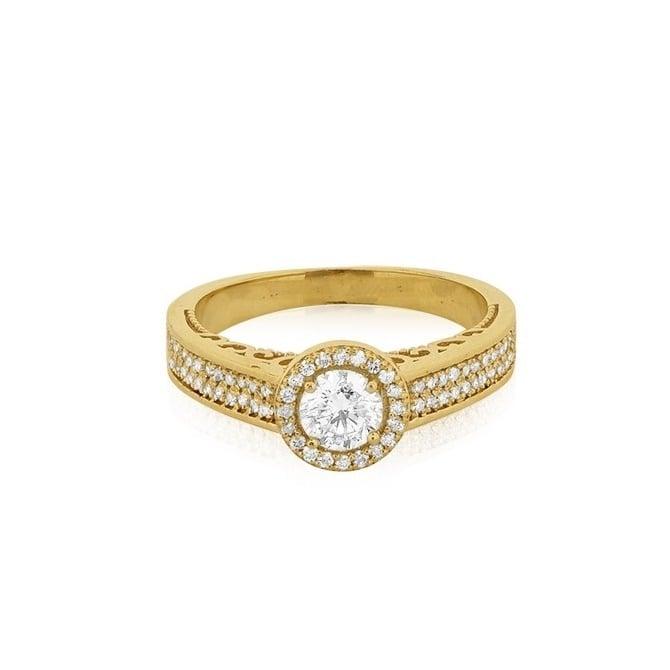 טבעת אירוסין משובצת ביהלומים 0.92 קראט בזהב 14 קרט-תעודה IGL