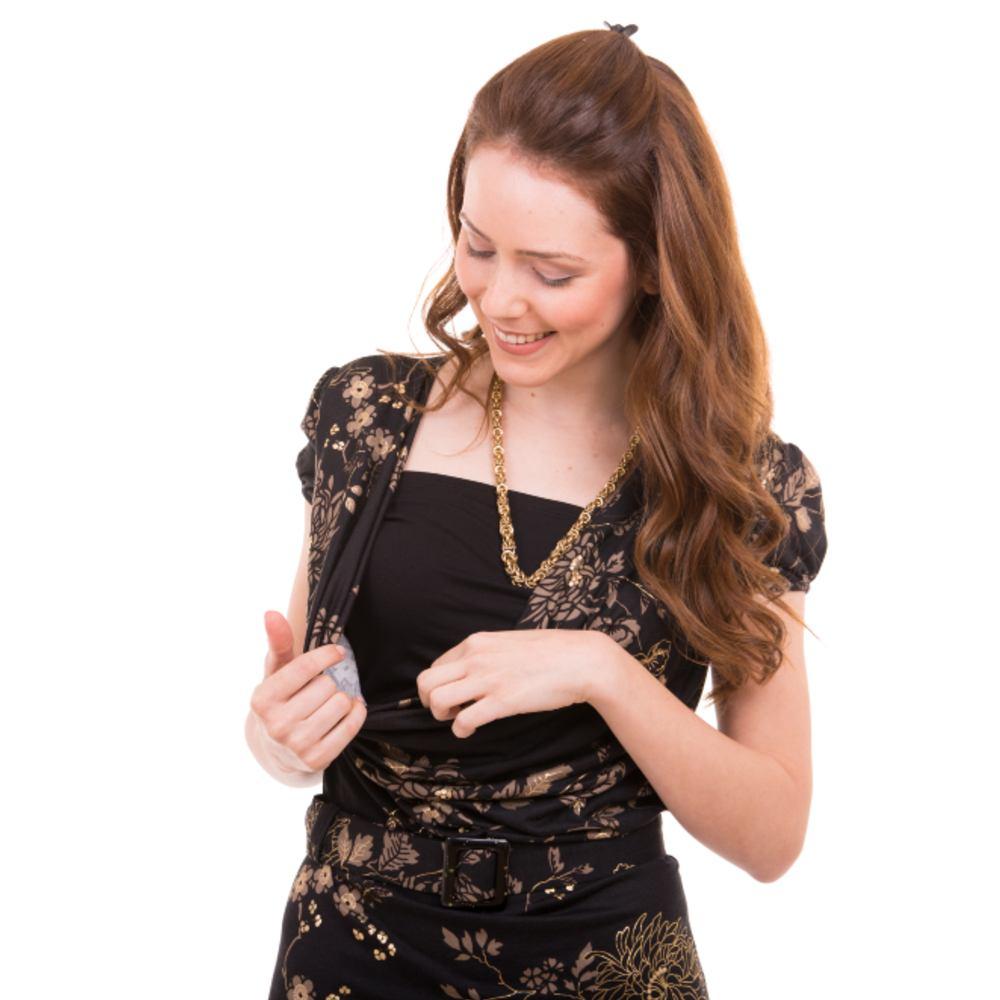 Gold Floral Nursing Dress