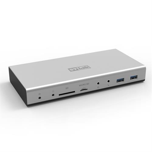 תחנת עגינה עם קורא כרטיסים STLab U-1180 USB 3.0 Type-C Docking Station